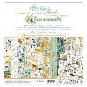 Bloc 12 papiers scrapbooking 30 x 30 collection Old Manor MINTAY BY KAROLA