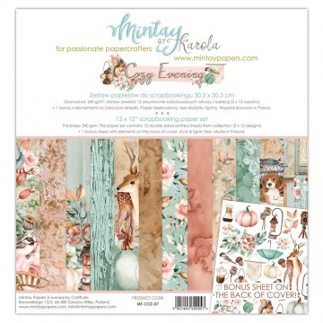 Bloc 12 papiers scrapbooking 30 x 30 collection Cozy Evening MINTAY BY KAROLA