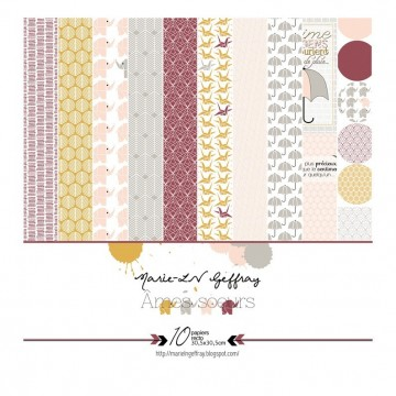 Set de 10 papiers scrapbooking 30 x 30 collection Âmes Soeurs MARIE-LN GEFFRAY