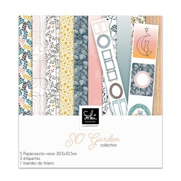 Set 5 papiers scrapbooking 30 x 30 collection So'Garden SOKAI