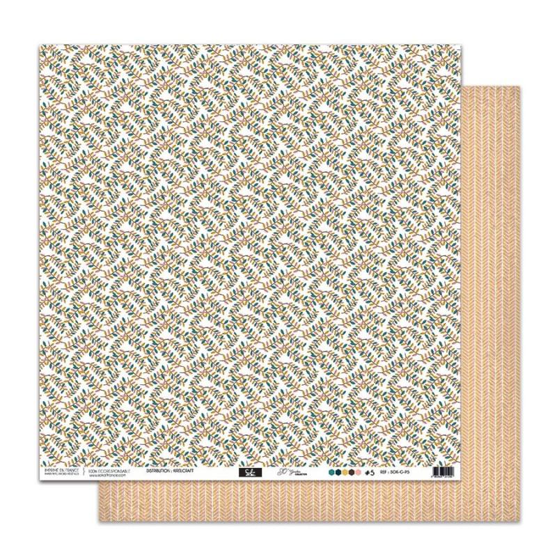 Set 5 papiers scrapbooking 30 x 30 collection So'Garden SOKAI