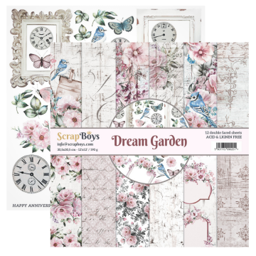 Bloc 12 papiers scrapbooking 30 x 30 collection Dream Garden SCRAPBOYS