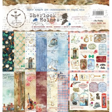 Set 8 papiers scrapbooking 30 x 30 collection Sherlock Holmes BEE SHABBY