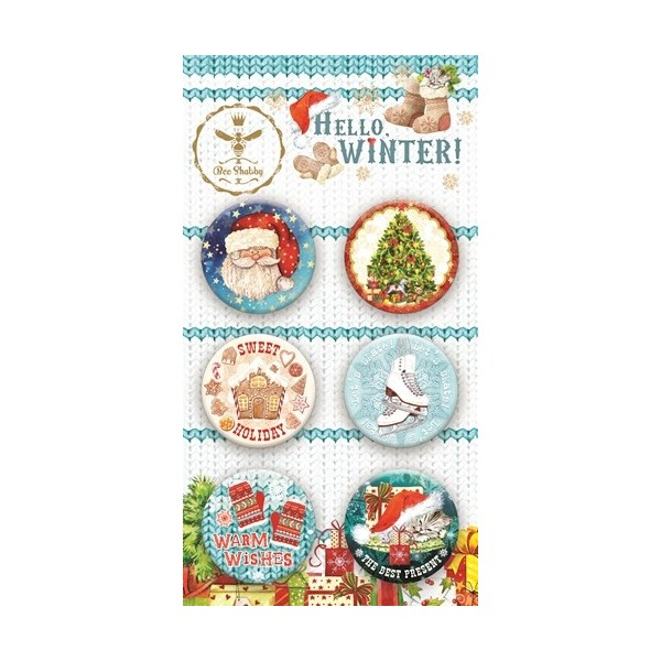 Lot 6 badges collection Hello Winter BEE SHABBY