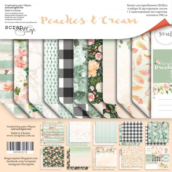 Set 10 papiers scrapbooking 20 x 20 collection Peaches and Cream SCRAPMIR