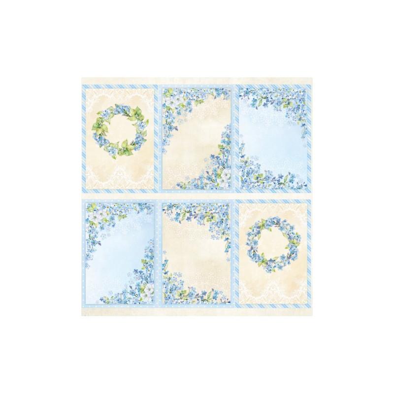 Bloc 20 papiers scrapbooking 15 x 15 collection Blossom Blue SCRAPANDME