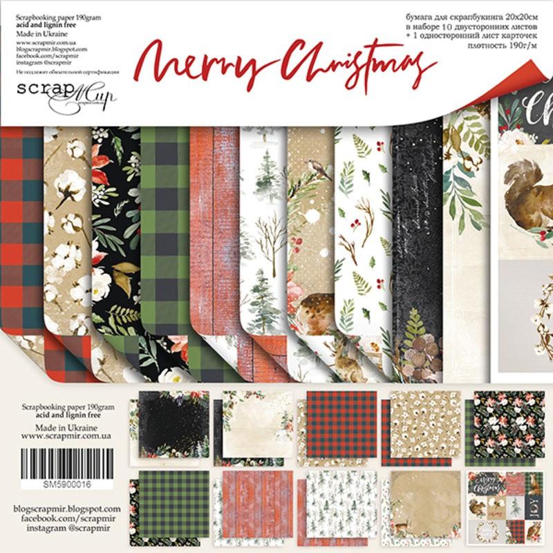 Set 10 papiers scrapbooking 20 x 20 collection Merry Christmas SCRAPMIR