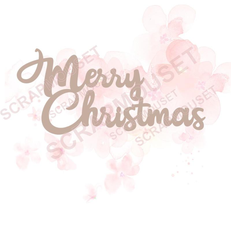 Mot Merry Christmas en carton bois SCRAPMOUSET