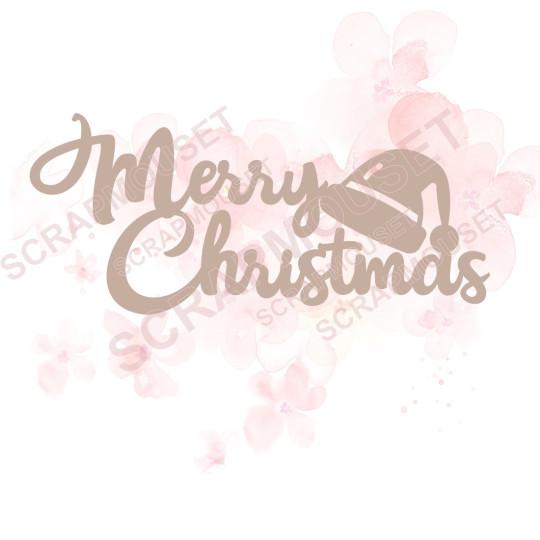 Mot Merry Christmas avec bonnet du père Noël en carton bois SCRAPMOUSET