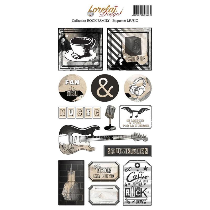 Planche d'étiquettes Music collection Rock Family LORELAÏ DESIGN