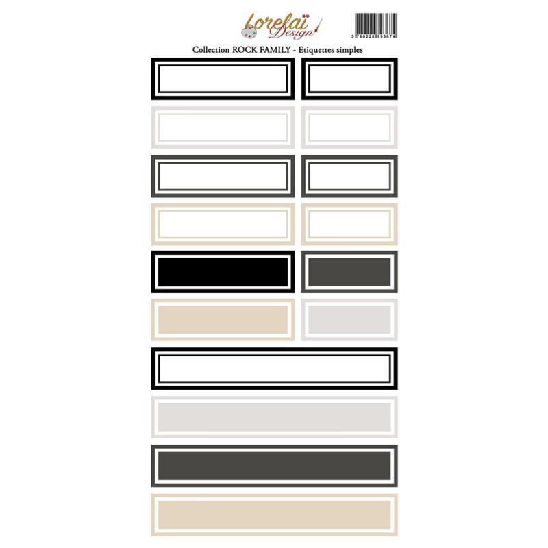 Planche d'étiquettes simples collection Rock Family LORELAÏ DESIGN