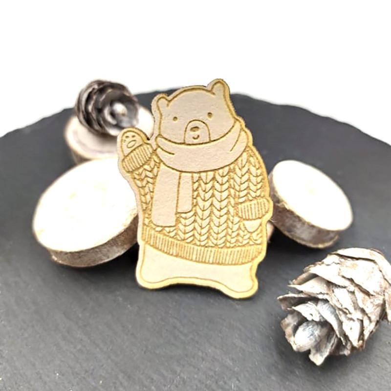 Chipboard ours avec écharpe et pull en carton bois SCRAPMOUSET