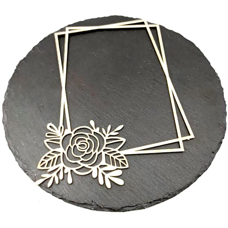 Chipboard cadre rectangulaire floral Amélie en carton bois SCRAPMOUSET
