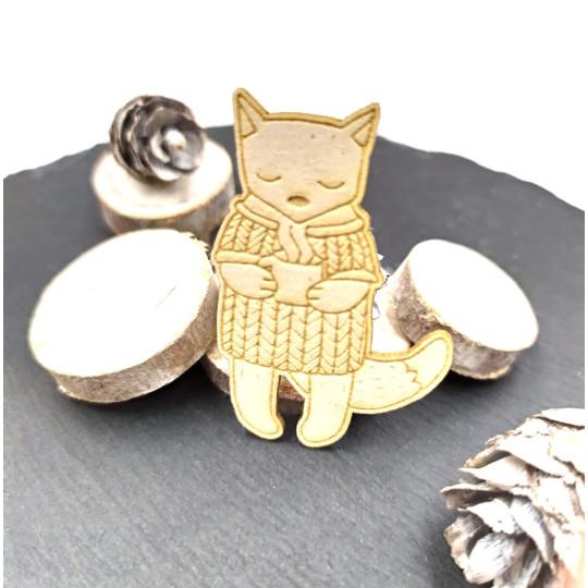 Chipboard chat frileux avec mug en carton bois SCRAPMOUSET