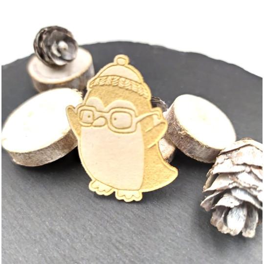 Chipboard pingouin à lunettes et bonnet en carton bois SCRAPMOUSET