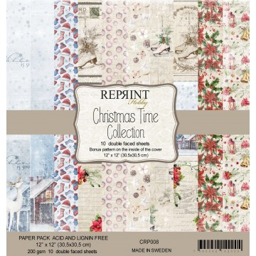 Set 10 papiers scrapbooking 30 x 30 collection Christmas Time REPRINT