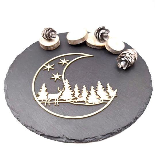 Chipboard cadre lune avec paysage de Noël en carton bois SCRAPMOUSET