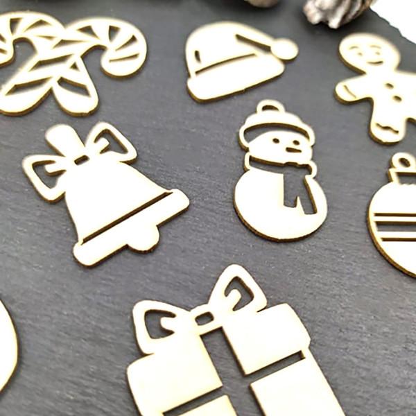 Chipboards petits objets déco de Noël en carton bois SCRAPMOUSET