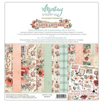 Bloc 12 papiers scrapbooking 30 x 30 collection Love Letters MINTAY BY KAROLA