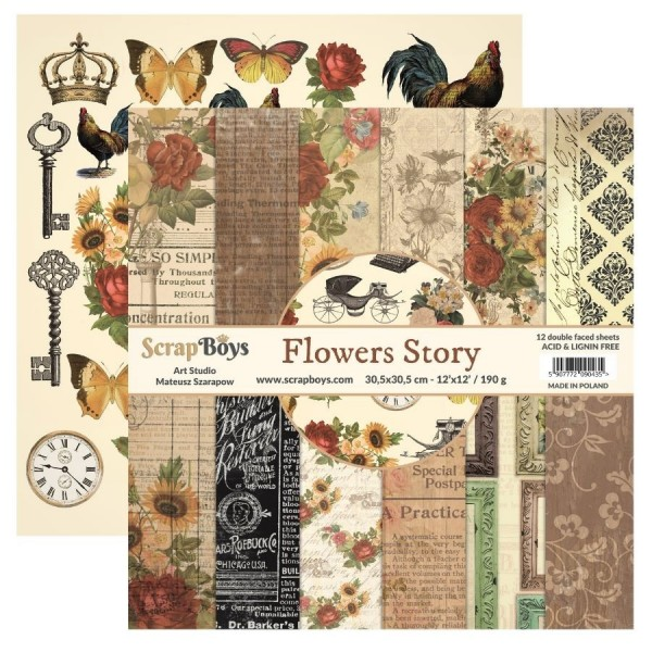Bloc 12 papiers scrapbooking 30 x 30 collection Flowers Story SCRAPBOYS