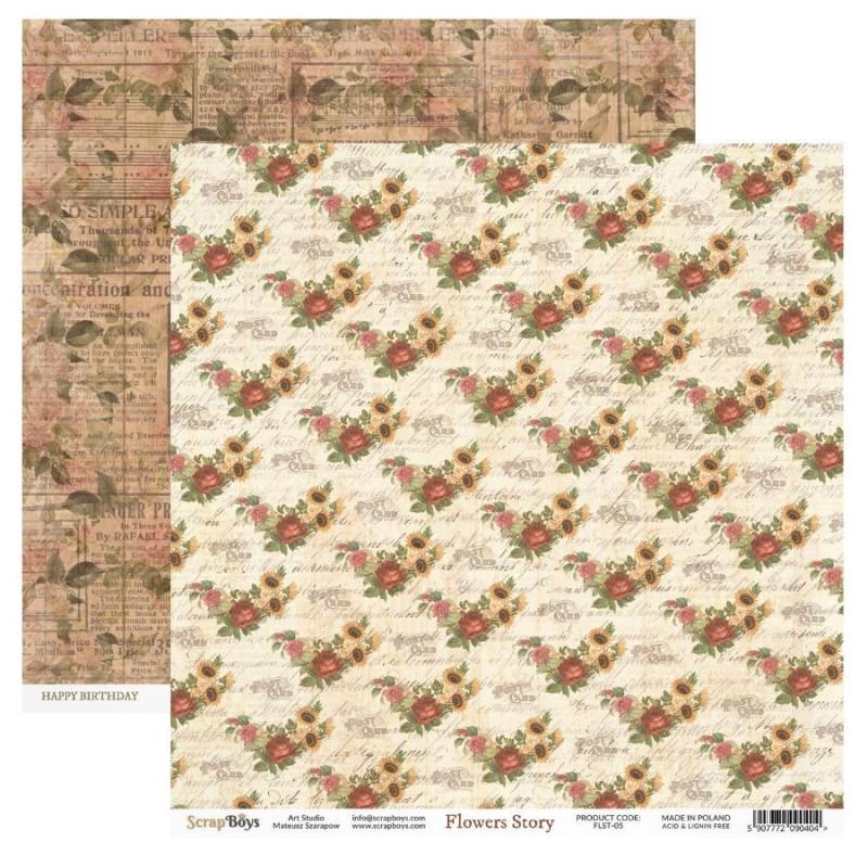 Bloc 24 papiers scrapbooking 15 x 15 collection Flowers Story SCRAPBOYS