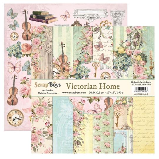 Bloc 12 papiers scrapbooking 30 x 30 collection Victorian Home SCRAPBOYS