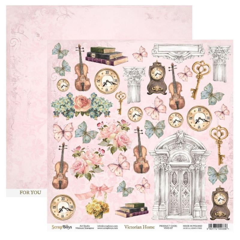 Papier scrapbooking motifs à découper collection Victorian Home SCRAPBOYS