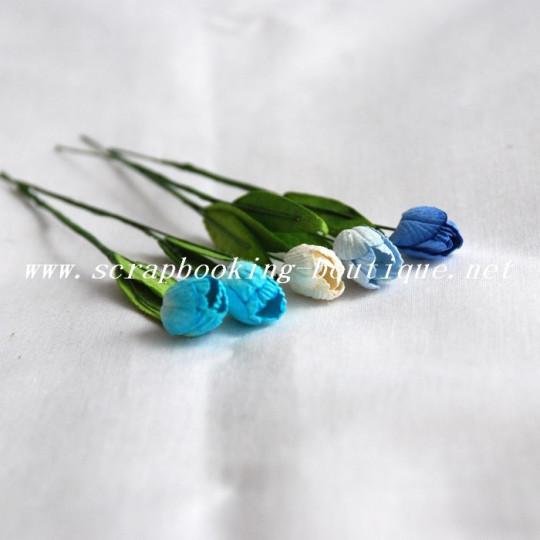 Tulipes de couleur Bleu en papier mûrier