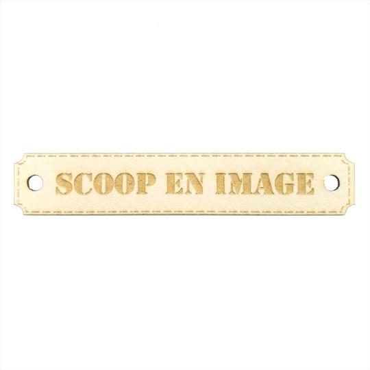 Étiquette rectangulaire scoop en image avec trous de fixation en carton bois Scrapmouset