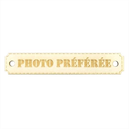 Étiquette rectangulaire photo préférée avec trous de fixation en carton bois Scrapmouset