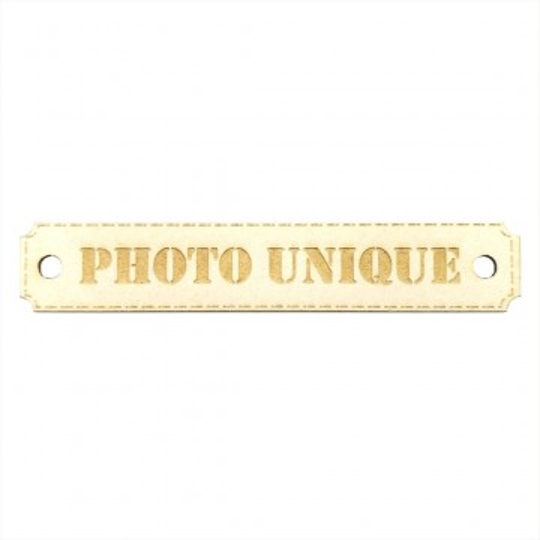 Etiquette rectangulaire Photo unique avec trous de fixation en carton bois SCRAPMOUSET