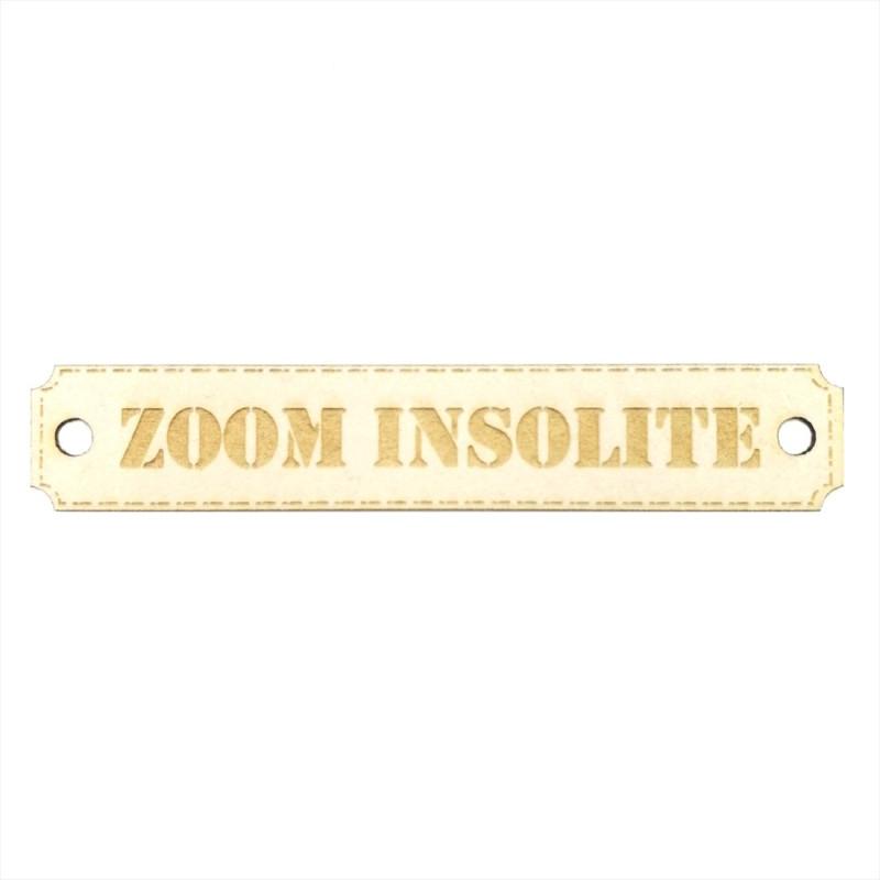 Etiquette rectangulaire Zoom insolite avec trous de fixation en carton bois SCRAPMOUSET