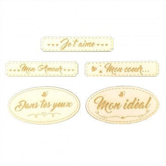 Ensemble de 5 étiquettes sur le Thème de L'AMOUR en carton bois SCRAPMOUSET