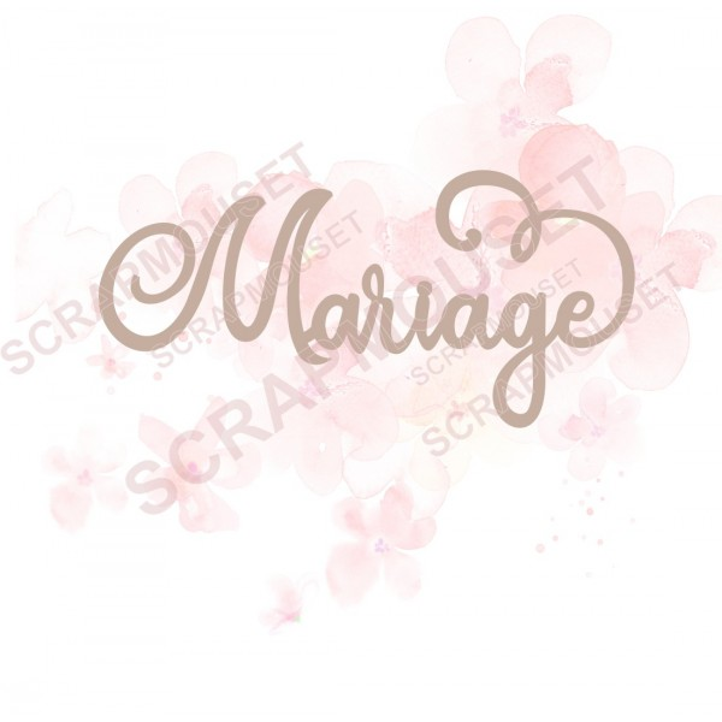 Mot Mariage en carton bois SCRAPMOUSET