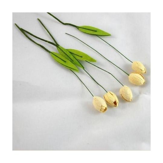 Tulipes de couleur Ivoire en papier mûrier