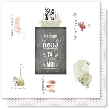 Feuille 06 scrapbooking 30 x 30 collection Plume Mes P'Tits Ciseaux