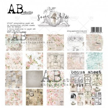 Set 8 papiers scrapbooking 30 x 30 collection Somewhere AB STUDIO