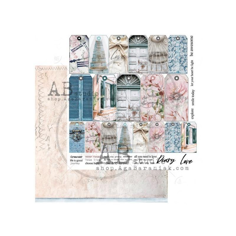 Set 8 papiers scrapbooking 30 x 30 collection Shabby Love Symphony AB STUDIO