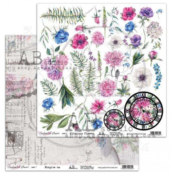Set 8 papiers scrapbooking 30 x 30 collection Enchanted Flowers AB STUDIO