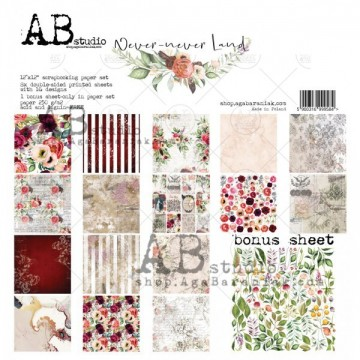 Set 8 papiers scrapbooking 30 x 30 collection Never-never Land AB STUDIO