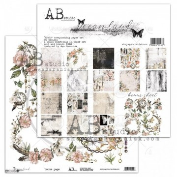 Set 8 papiers scrapbooking 30 x 30 collection Dreamland AB STUDIO