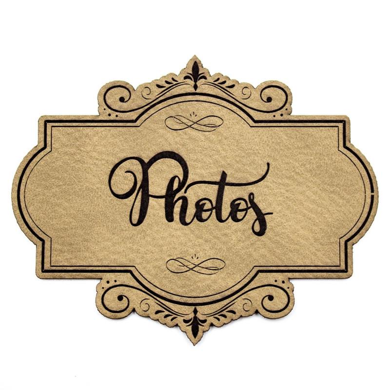 Etiquette de type Vintage en cuir avec le mot Photos SCRAPMOUSET